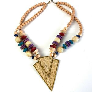 Jewelry - Wood Carved Bead V Pendant Wicker Triangle 80's